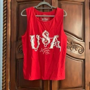 Lauren James USA and Pearls red tank top- size S